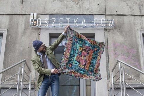 Silk 100 cm scarf KATOWICE Jan Kallwejt