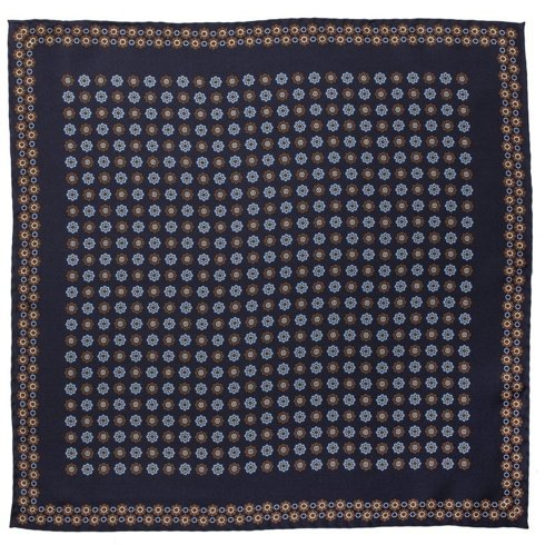 Silk flowery Macclesfield pocket square 40 cm