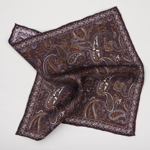 Silk pocket square- burgundy paisley