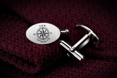 Silver Cuff Links Compass