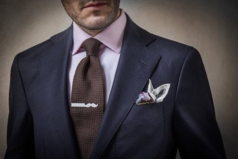 Silver Tie Clip Mustache