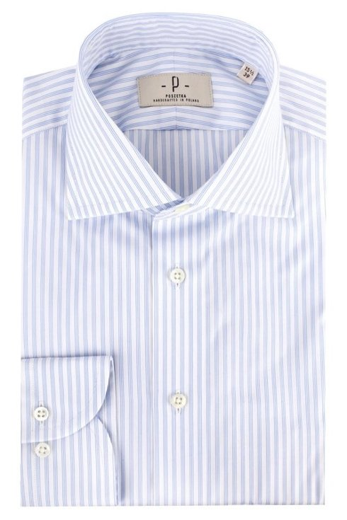 Sky blue striped shirt with semi-spread collar