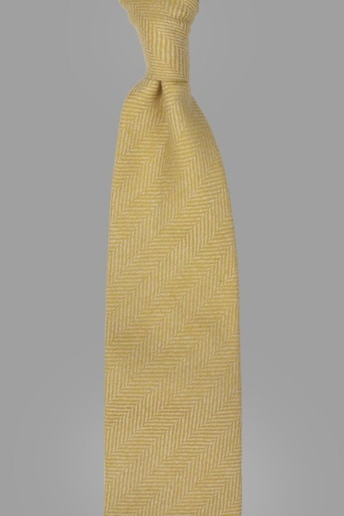 YELLOW FLANNEL UNTIPPED HANDROLLED TIE