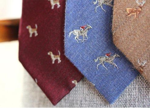 blue silk&wool tie HORSE