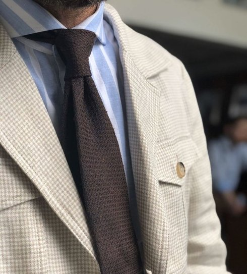brown grenadine shantung untipped tie