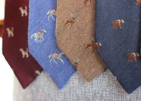 brown silk&wool tie DEER