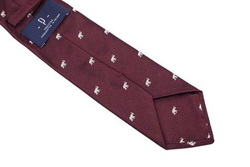 burgundy silk tie with elephants