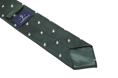 green silk tie with elephants