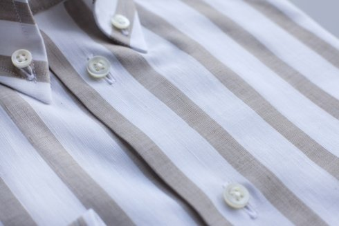 linen cotton BD wide bengal striped shirt