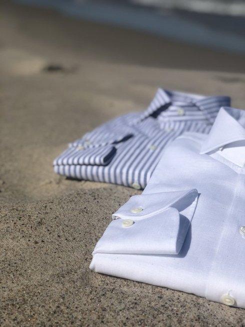 linen white cutaway shirt