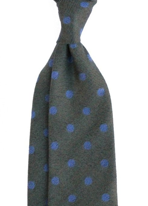 olive green dots woolen untipped TIE
