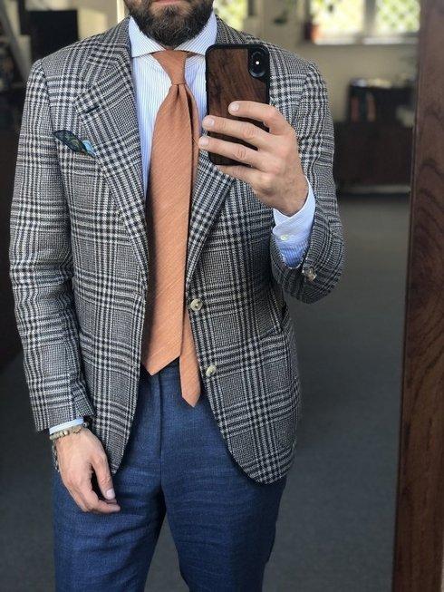 pastel orange linen & silk tie