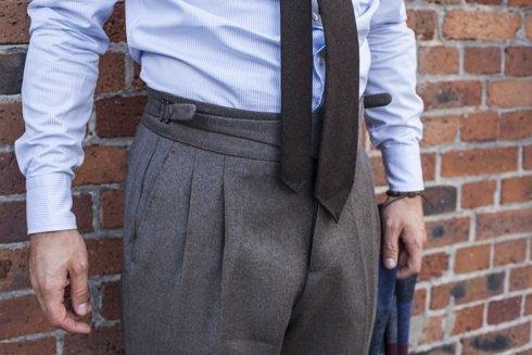 pleated flannel gurkha trousers 'Alfred III'