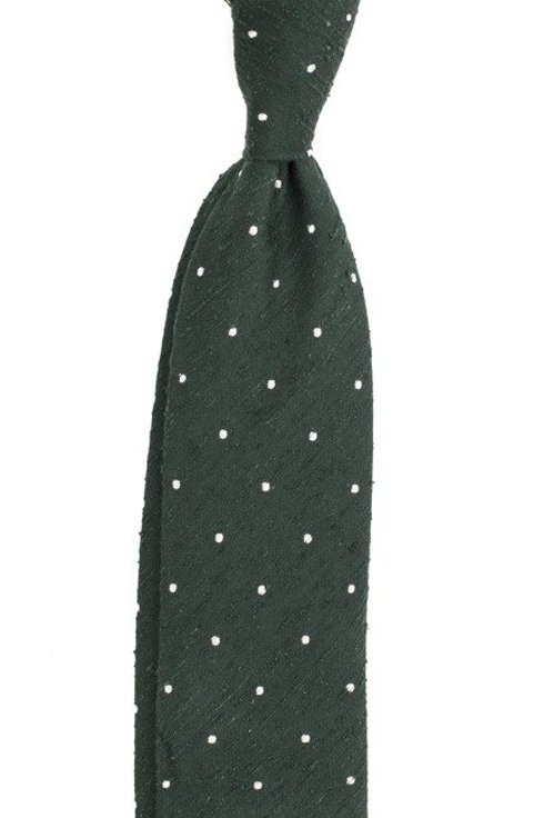 GREEN UNTIPPED shantung tie polka dots