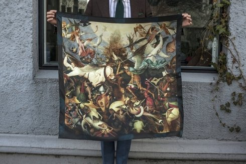 silk 100cm scarf 'The Fall of the Rebel Angels' Pieter Bruegel the Elder