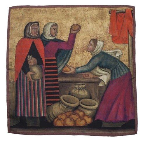 """silk 45cm scarf """"At the market"""" Helena Schrammówna"""