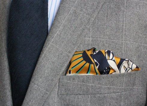 silk pocket square zodiac leo/lion