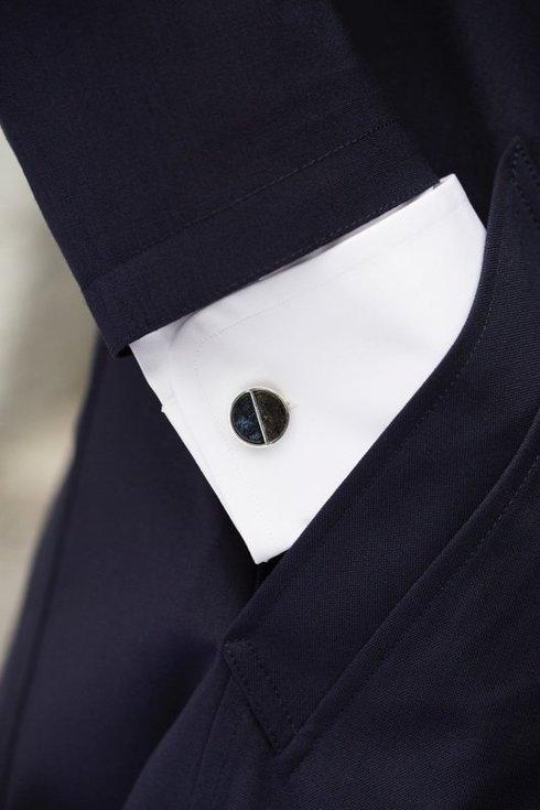 silver cufflinks with coal chunks and semi-precious stones