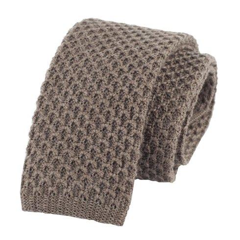 woolen beige knit tie