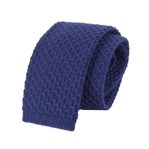 woolen blue knitted tie