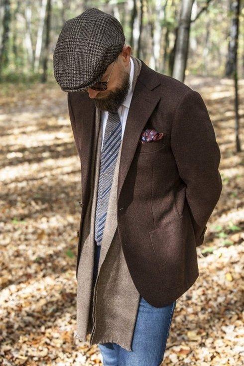 woolen navy & mustard knit tie