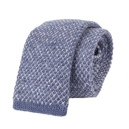 woolen sky blue donegal knit tie