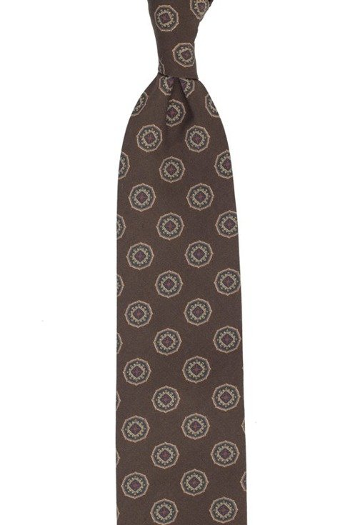 Brązowy krawat w medaliony bez podszewki z wełny drukowanej