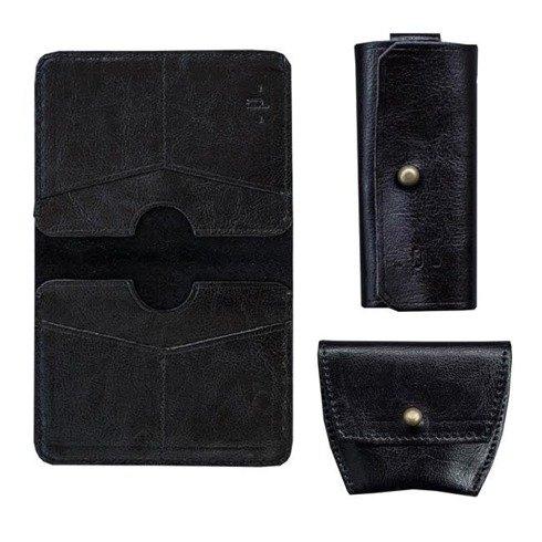 Czarny Zestaw Pocket Wallet + bilonówka + etui na klucze