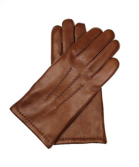 Koniakowe rękawiczki z skóry jagnięcej