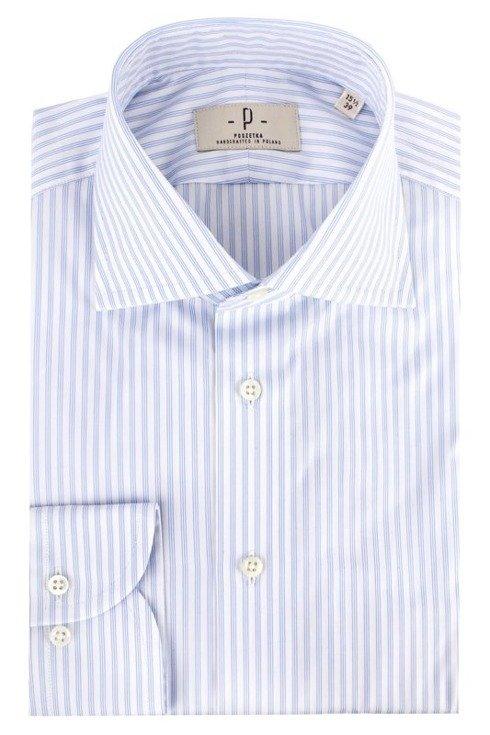 Koszula w potrójny błękitny prążek z kołnierzem półwłoskim