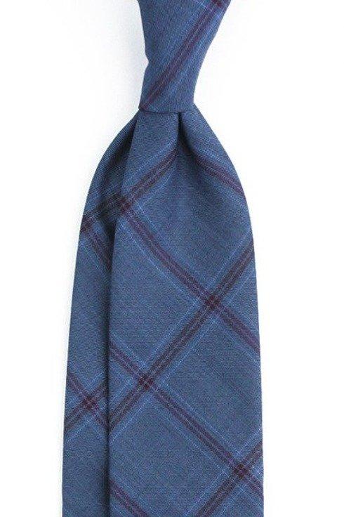 Krawat wełniany BEZ PODSZEWKI w BURGUNDOWĄ KRATĘ