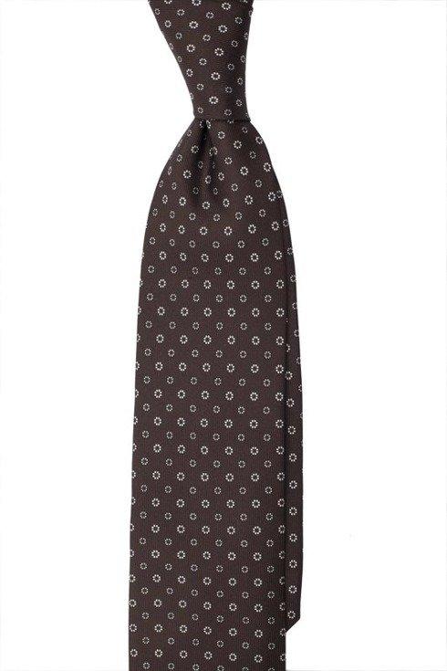 Krawat z jedwabiu Macclesfield brązowy