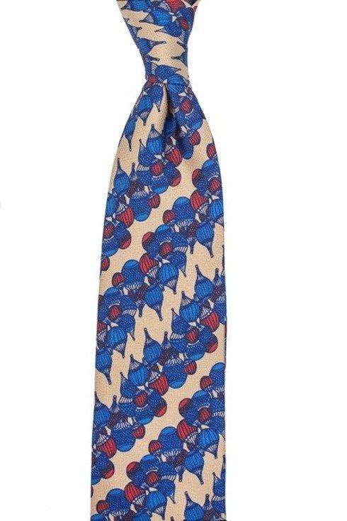 Krawat z jedwabiu drukowanego stare złoto z granatem