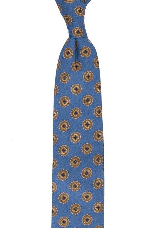 Niebieski krawat w medaliony bez podszewki z wełny drukowanej