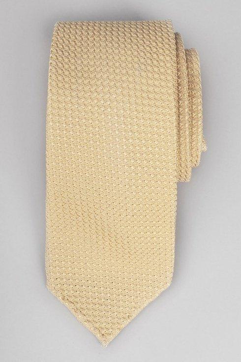 Pastelowo-żółty krawat z grenadyny bez podszewki (garza grossa)