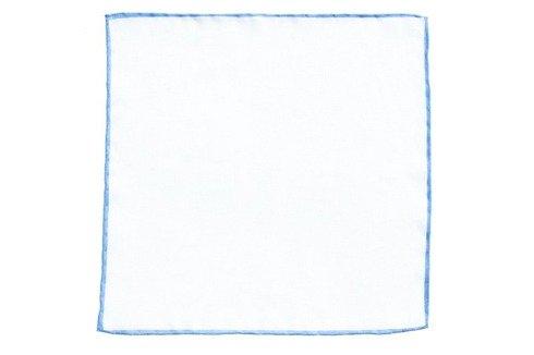 Poszetka lniana z błękitnym brzegiem
