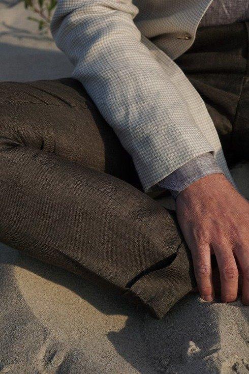 "Spodnie brązowe z lnu ""Alfred I"""