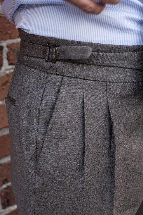"""Spodnie gurkha z beżowej flaneli """"Alfred III"""""""