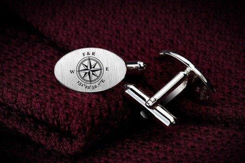 Srebrne Grawerowane Spinki do mankietów Kompas