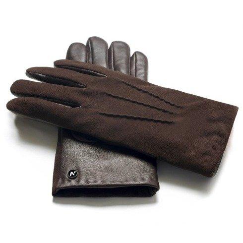 Zamszowe rękawiczki ocieplane kaszmirem