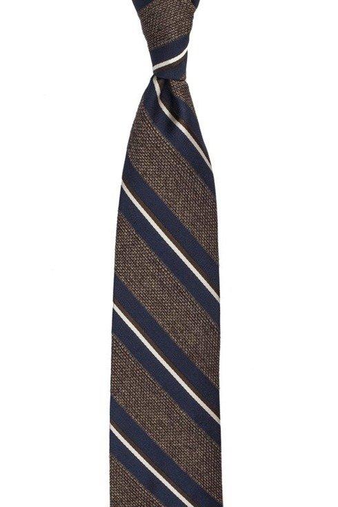 brąz w melanżu krawat z grenadyny w pasy