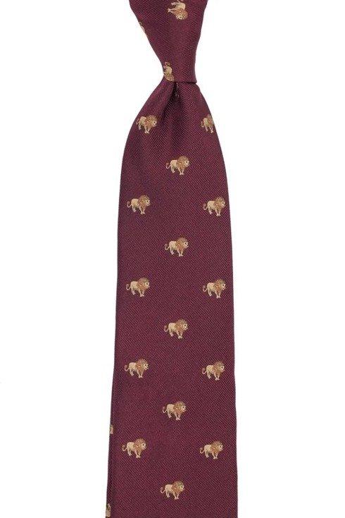 jedwabny burgundowy krawat w lwy