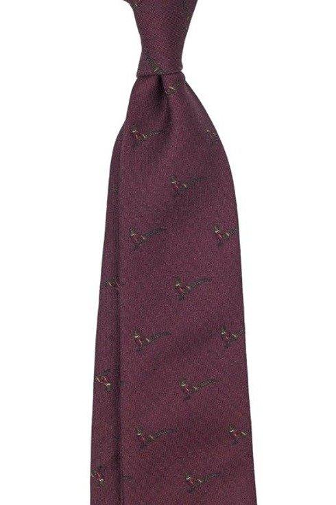 krawat bez podszewki wool challis bordowy bażant
