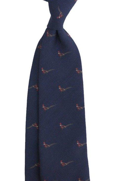 krawat bez podszewki wool challis granatowy bażant