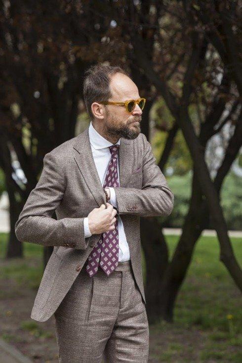 preorder: GARDA brązowy lniano-wełniany garnitur