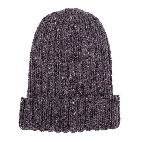 śliwkowa czapka robiona na drutach / merynos + konopie