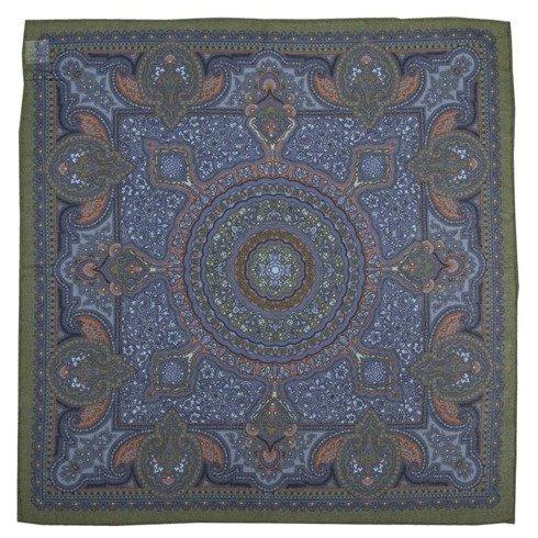 zielono- niebieska poszetka macclesfield w ornamenty