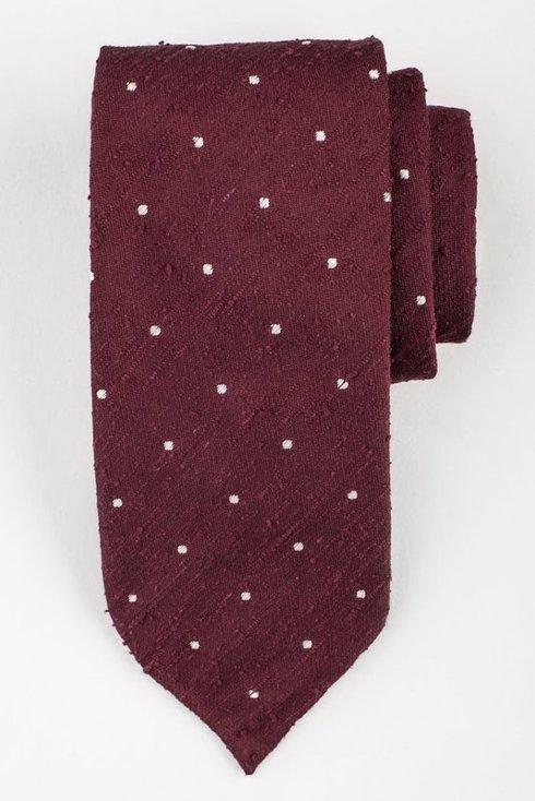 Bordowy krawat w kropki z szantungu bez podszewki