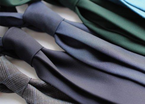 Granatowy WEŁNIANY Krawat BEZ PODSZEWKI