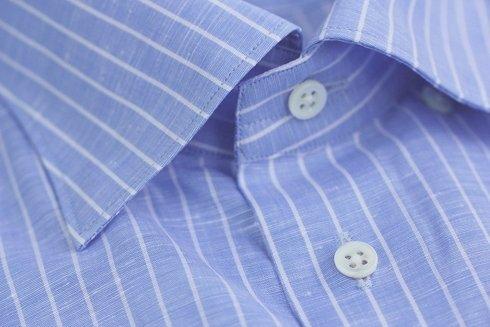 Koszula lniano- bawełniana w delikatny prążek